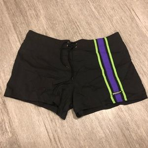 "Speedo swim trunks short 3.5"" inseam neon stripe"